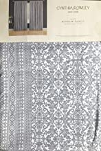 Cynthia Rowley Set of 2 Window Panels Curtains Textured Classical Geometric Damask Pattern Geo Ash Blue/Gray with Metallic Silver Highlights on White - 42 Inches by 96 Inches