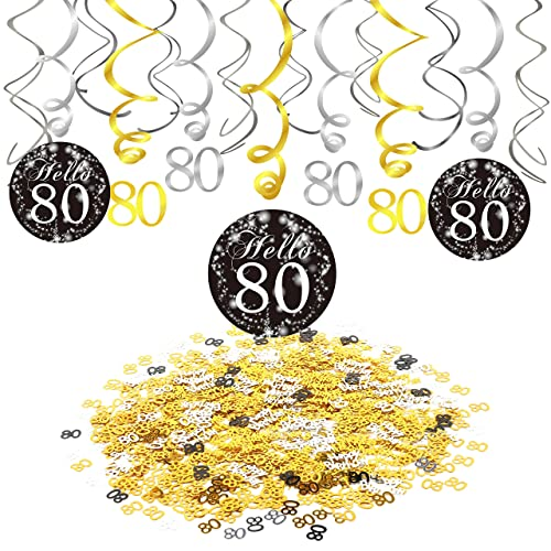 Konsait 80th Birthday Party Decorations Hanging Swirl Black And Gold