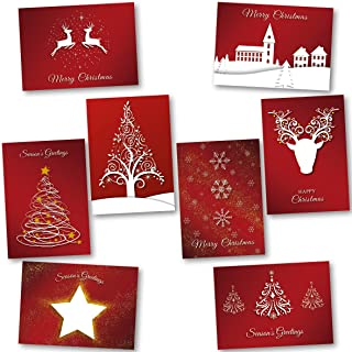 Charity Christmas Cards Pack of 24. Each Christmas Card multipack has 8 different Festive Red designs. Ecofriendly and UK ...