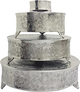 "GiftBay Cake Stand Round Set of 22"", 18"", 14"" & 6"" Silver Specifically Made for Professional Bakers and Sold With Huge Discount"