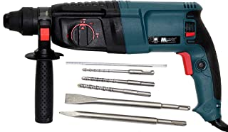 TOOLS CENTRE Powerful 2-26MM Rotary Hammer Drill Machine 26MM SDS Plus with 3 Modes & A Carry CASE + 3 PCS Hammer Drill BITS & 2 PCS CHISELS.