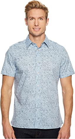 Perry Ellis - Short Sleeve Stenciled Leaf Shirt