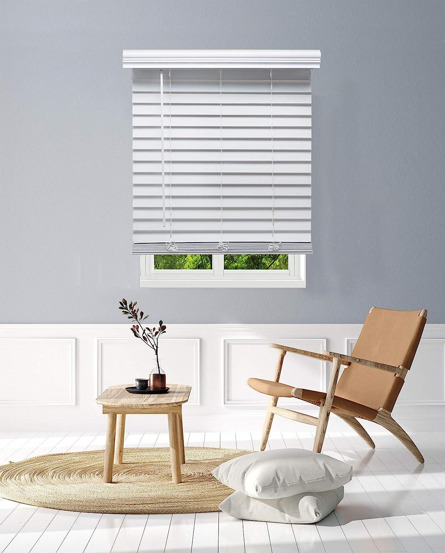 Linen AVENUE Cordless Customizable White Faux Wood Blinds, 20