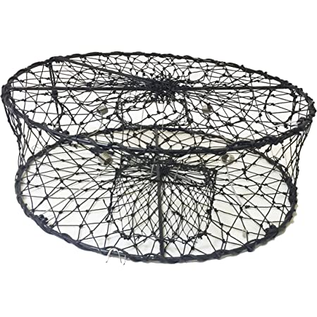 "KUFA CT50 Sports Foldable Crab Trap with 3 Durable Stainless Steel Spring, 30"" x 10"", Black"