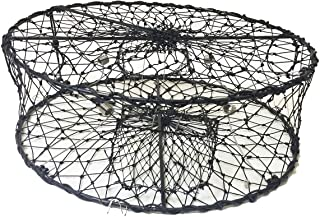 Kufa Sports Foldable Crab Trap with 3 Durable Stainless Steel Spring, Black, 30 Inch Diameter x 10 Inch Height