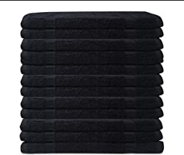 Vinotex Luxury Cotton Washcloths in 13 X 13 inches. Hotel-Spa Collection in Heavy Pile and Soft Touch. Ideal for Beauty-Hair Salons, Barber-Shops, motels, Gym and Home Bath-Room. (Black, 12 Pack)