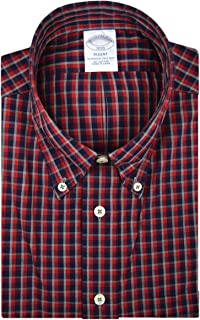 Brooks Brothers Mens 92459 Regent Fit All Cotton The Original Polo Button Down Shirt Red Navy Blue Grey Plaid