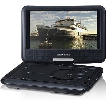 グリーンハウス ポータブル DVD プレーヤー 9型 ワイド液晶 (800×480) 搭載 (車載用ヘッドレスト取り付けキット付属) 単3形乾電池対応 ブラック GH-PDV9L-BK