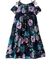 Versace Kids - Floral Print Maxi Dress w/ Shoulder Cut Outs (Big Kids)