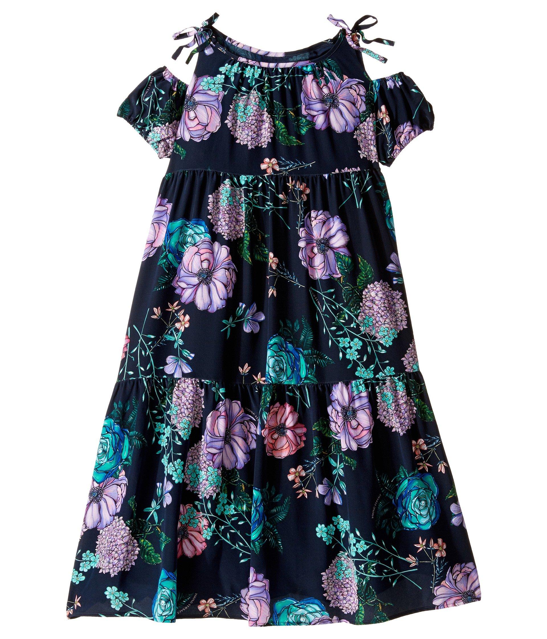 Vestido para Niña Versace Kids Floral Print Maxi Dress w/ Shoulder Cut Outs (Big Kids)  + Versace en VeoyCompro.net