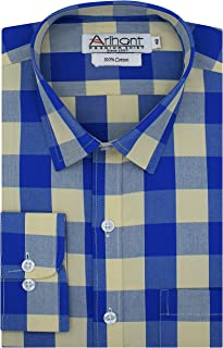 Arihant Checkered 100% Cotton Full Sleeves Regular Fit Formal Shirt for Men