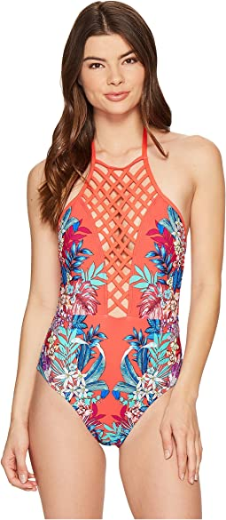Tropical Tendencies Lattice High Neck One-Piece