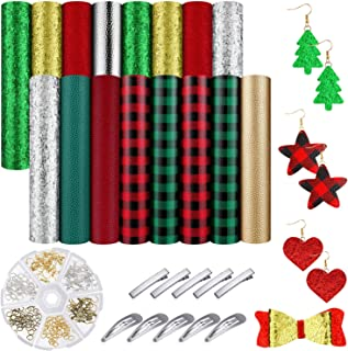 16 Pieces Christmas Faux Leather Sheet with 10 Hair Clips, 210 Earring Hooks and Jump Rings for Christmas Party DIY Earrings Hair Bows Crafts