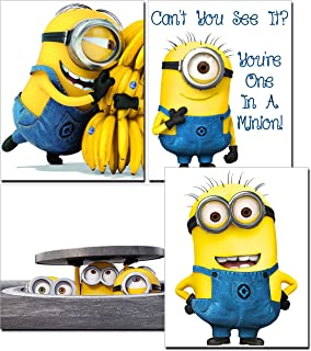 Minion Movie Photos/Prints - 4 Piece Set of Cute Minion Decor - Decorations for Bedroom, Kids Room, Boys/Girls Room, Playroom, Nursery - for Despicable Me Fans