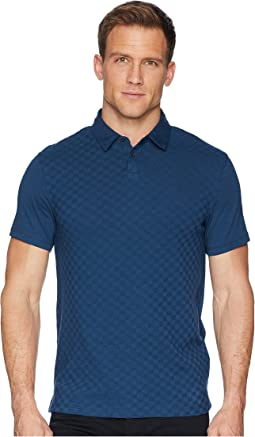 Calvin Klein Short Sleeve Front Printed Johnny Collar Polo with Contrast Back