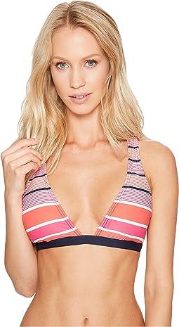 Abby Stripe Halter Strappy Bikini Top