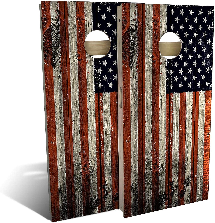 Skip's Price reduction Garage American Flag Distressed - Board Choo Set Super sale period limited Cornhole