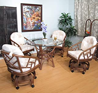 Made in USA Rattan Swivel Caster Chair and Table 5 Piece Dining Set (#2406AW-BS)