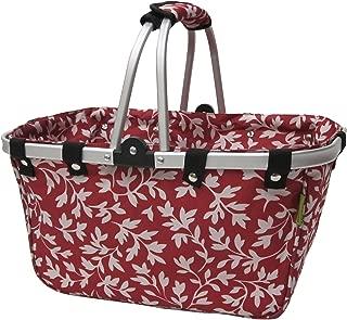 JanetBasket NB009-L Red Floral Large Aluminum Frame Basket