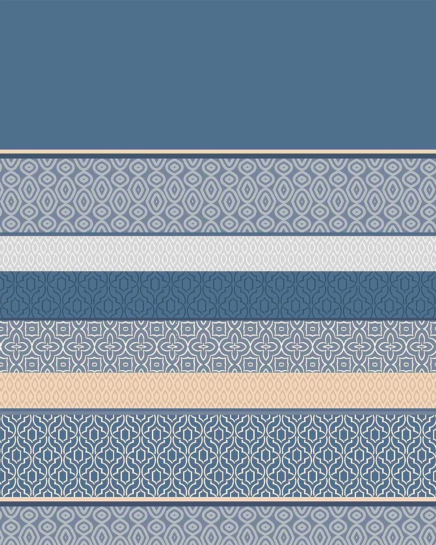 Bandas Azul Bajera Ajustable y Encimera 3 Piezas Cama 90 cm Suave y Resistente Juego de Sabanas Estampadas Algodon Poliester Calidad y Dise/ño Funda Almohada