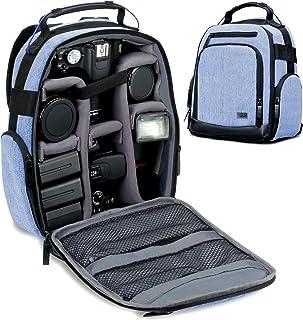 USA GEAR Mochila para Cámara Portátil para DSLR (Azul) con Divisores de Accesorios Personalizables Fondo Resistente a la Intemperie y Respaldo Cómodo - Compatible con Canon Nikon Sony y más SLR