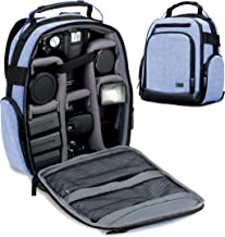 USA GEAR Portable Camera Backpack for DSLR (Blue) with Customizable Accessory Dividers, Weather Resistant Bottom and Comfortable Back Support - Compatible with Canon, Nikon and More