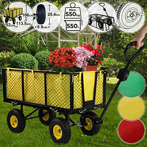 Chariot de Transport   Charge Max. 550kg, avec 4 Roues, Côtés Amovibles, Couleurs au Choix   Charrette de Jardin, Bricolage, Remorque à Main (Jaune-Noir)