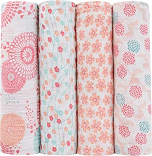 aden + anais Tea Collection Swaddle Baby Blanket, 100% Cotton Muslin, Large 47 X 47 inch, 4 Pack, Global Garden