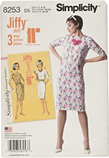 Simplicity 8253 1960's Vintage Shift Dress Sewing Pattern, Sizes 4-12