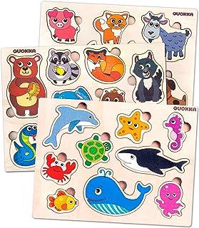 Quokka Bebe Puzzles Animaux en Bois 1 2 3 Ans, Jouet Enfants Montessori 2 Ans Fille et Garçon, Jeux Educatifs 3 Ans et Cad...