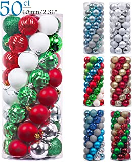 Valery Madelyn 50ct 60mm Classic Collection Splendor Red Green White Shatterproof Christmas Ball Ornaments Decoration,Themed with Tree Skirt(Not Included)