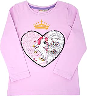 HH Family Flip Sequin Unicorn Shirt Tee for Girls 3-12 Years