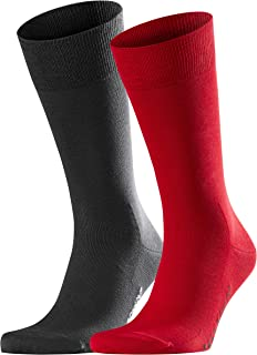 FALKE Men's Cool 24/7 2-Pack Socks Cotton Blue Red Thin And Light Calf Socks With Cooling Properties Plain Pattern Ideal F...