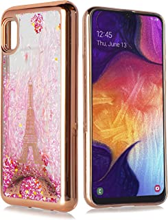 Customerfirst Case for Samsung Galaxy A10E Cute Liquid Glitter Flowing Quicksand Sparkle Stars Shockproof Protective Chrome TPU Rose Gold Cover for Galaxy A10E [Free Emoji Keychain!] (Paris)