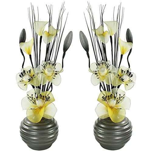 Matching Pair Of Light Grey Vases With Yellow And Cream Artificial Flowers,  Ornaments For Living