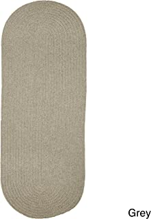 Rhody Rug Woolux Wool Runner Braided Rug (2' x 8') - 2' x 8' Runner Grey