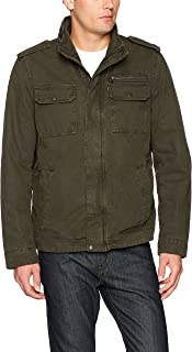 Men's Washed Cotton Two Pocket Sherpa Lined Military Jacket