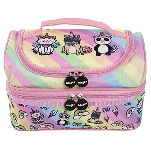 44312d16cb FRINGOO® Multi-compartment Kids Lunch Bag Thermal Insulated Cooler Bag  School Nursery Double Decker
