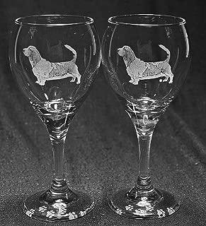 Muddy Creek Reflection Basset Hound Dog Laser Etched Wine Glass Set (2, TDW)