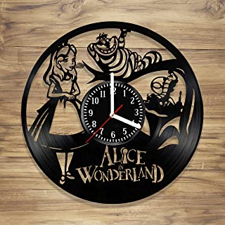 Alice In Wonderland Vinyl Wall Clock Cheshire Cat Disney Perfect Art Decorate Home MODERN Style UNIQUE GIFT idea for Him Her (12 inches)