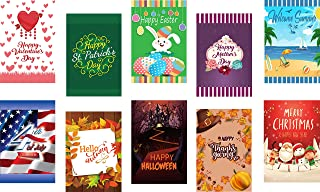 Seasonal Garden Flag Set of 10 for Outdoors - 10 Pack Assortment of 12 x 18 inch Large Holiday Yard Flags - Double Sided C...