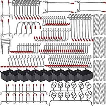 228PKS Pegboard Hooks Assortment with Metal Hooks Sets, Pegboard Bins, Peg Locks for Organizing Storage System Tools Accessories: image