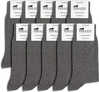 FERAZZI, 10 pares de calcetines de algodón para hombre y mujer, en negro, en azul y en gris, sin cintura elástica sin costuras apretadas