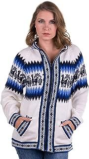 Gamboa - Hooded Alpaca Cardigan - Zipper Alpaca Sweater - White and Blue