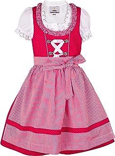 Ramona Lippert Kinder Dirndl für Mädchen - Kinderdirndl Nele in rot - 3-teiliges Trachtenkleid - Trachtenmode - Tracht mit Schürze