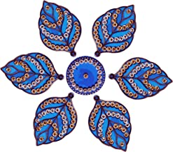 Diwali Acylic Leaf Design Rangoli Floor Decorations Acrylic Blue Color with Studded Stones and Sequins, Traditional Festiv...