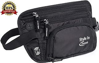 Travel Money Belt & Waist Pack – RFID Wallet, 4 Zipper Pockets, Bottle Holder (Black)