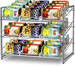 Simple Trending Can Rack Organizer, Stackable Can Storage Dispenser Holds up to 36 Cans for Kitchen Cabinet or Pantry, Chrome