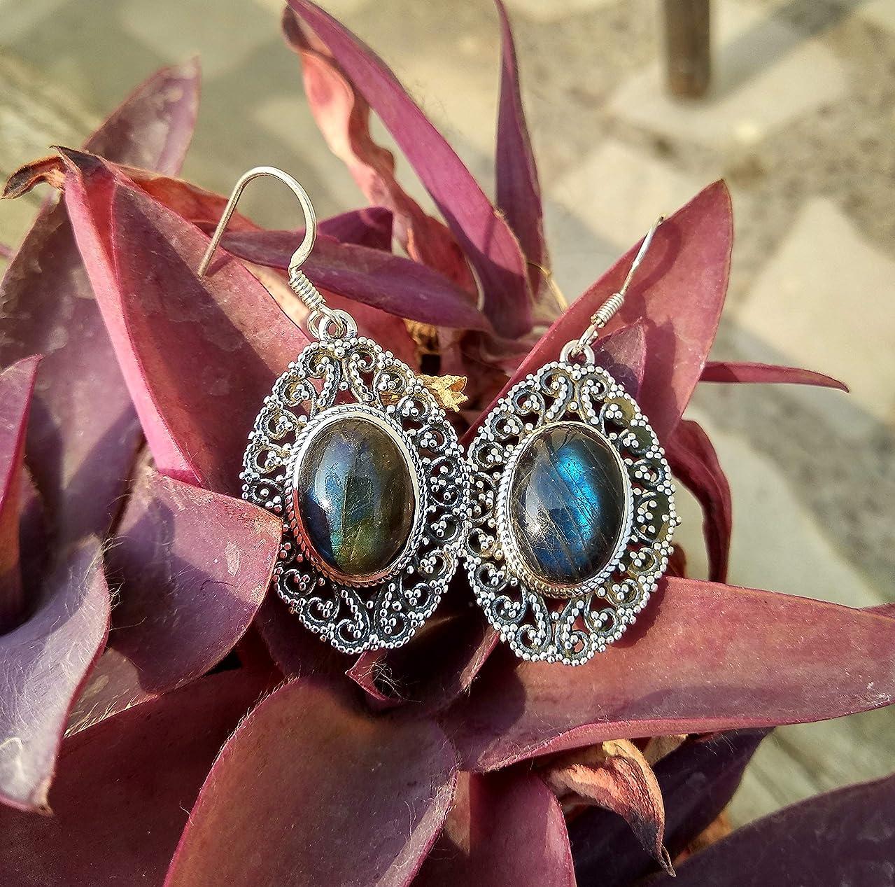 Labradorite Earrings, 925 Sterling Silver Earrings, Victorian Earrings, Blue Flash Earrings, Natural Stone Earrings, Gothic Earrings, Jewelry, Dangle Earrings, Women Earrings, Wedding Earrings, Gifts