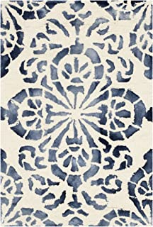 Safavieh Dip Dye Collection DDY719P Handmade Geometric Medallion Watercolor Ivory and Navy Wool Area Rug (2' x 3')